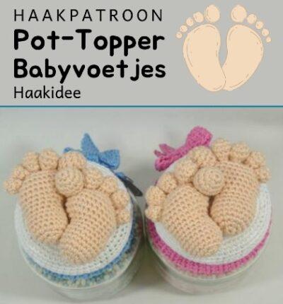 Haakpatroon Pot topper babyvoetjes