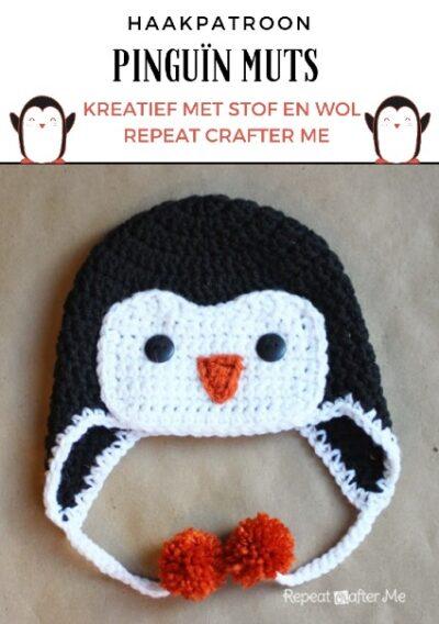 Haakpatroon Pinguin Muts Haken