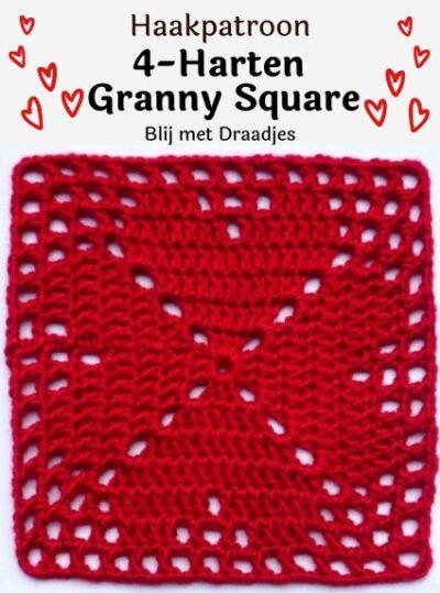 Haakpatroon 4 harten granny square