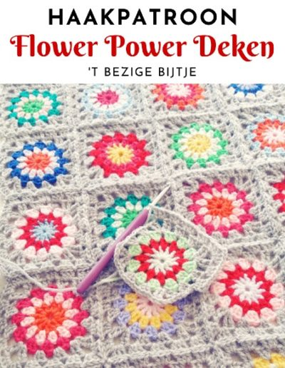 Haakpatroon Flower Power Deken
