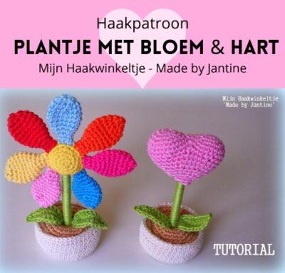 Haakpatroon plantje bloem hart haken