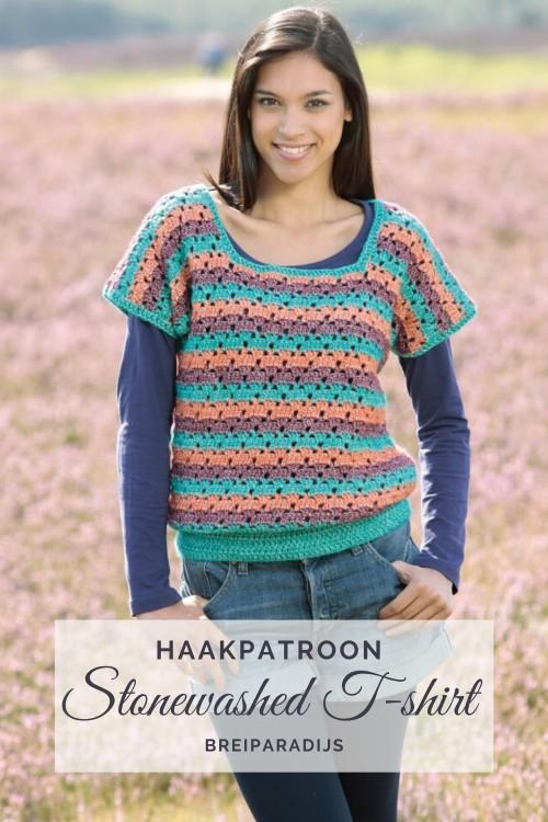 Haakpatroon Stonewashed T-shirt haken