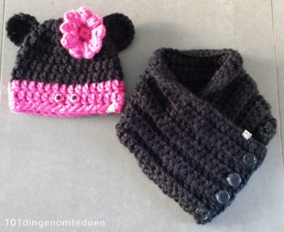 Haakpatroon Minnie Mouse Sjaal en Muts