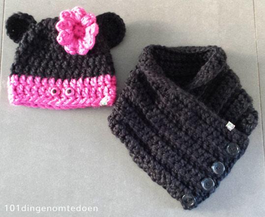 Haakpatroon Mini Mouse Sjaal en Muts