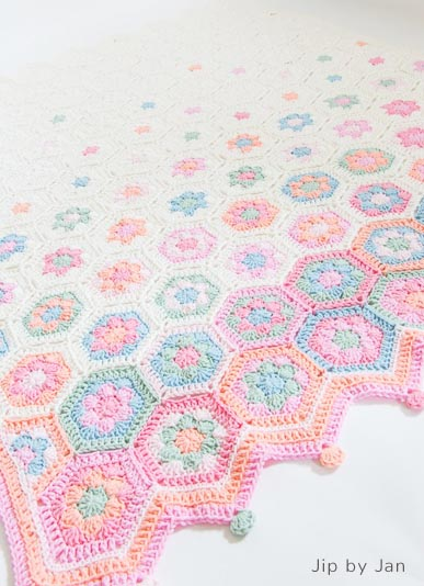 Haakpatroon Hexagon Pastel Babydeken