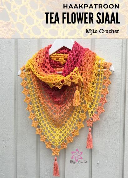 Haakpatroon Tea Flower Sjaal Haken