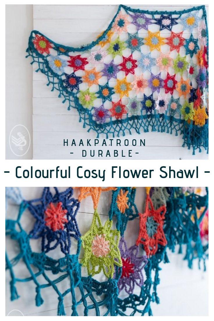 Haakpatroon Colourful Cosy Flower Shawl