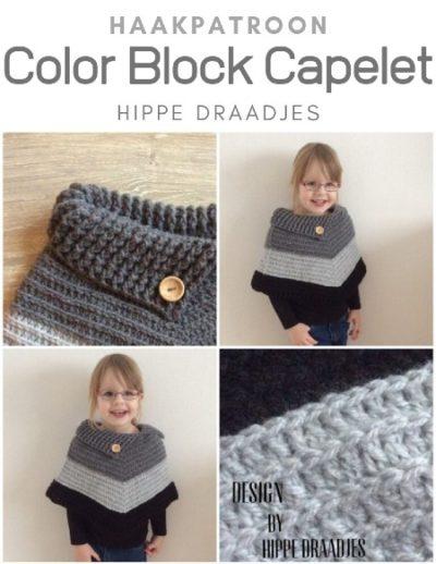 Haakpatroon Color Block Capelet