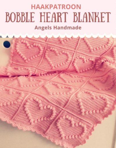 Haakpatroon Bobble Heart Blanket