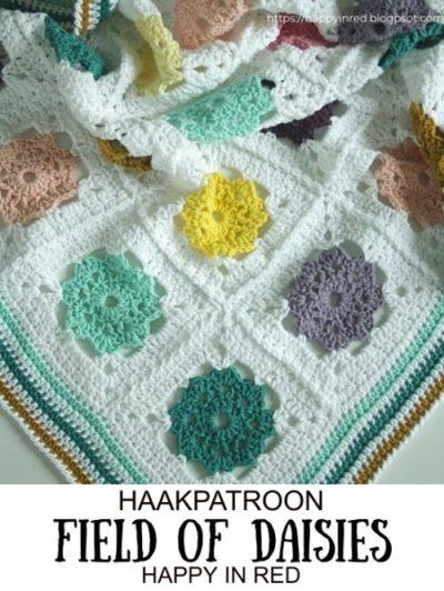 Haakpatroon Field of Daisies Deken
