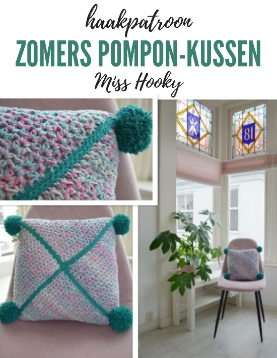 Haakpatroon Zomers Pompon-Kussen