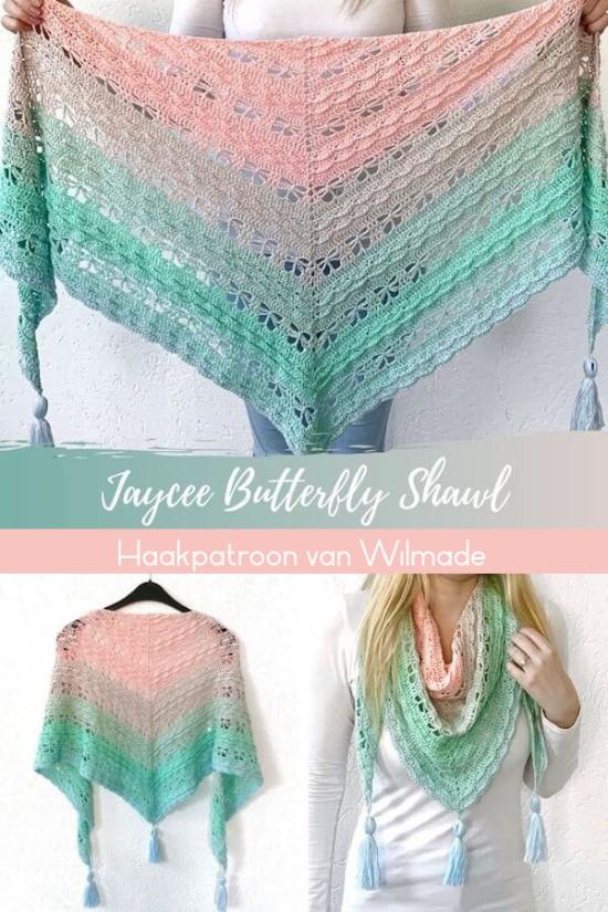 Haakpatroon Jaycee Butterfly Sjaal