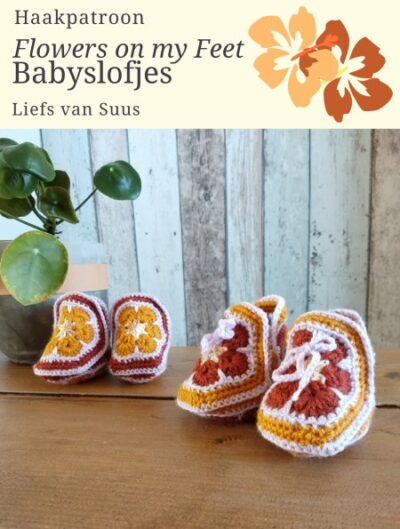 Haakpatroon Flowers on my Feet Babyslofjes
