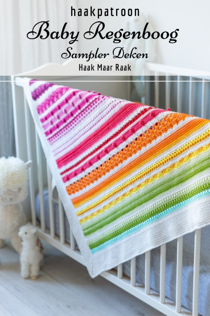 Haakpatroon Baby Regenboog Sampler Deken
