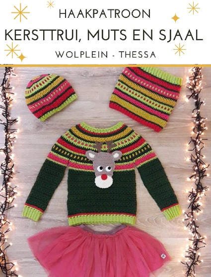 Haakpatroon Kersttrui Muts en Sjaal