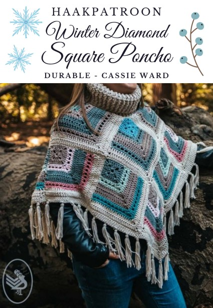 Haakpatroon Winter Diamond Square Poncho