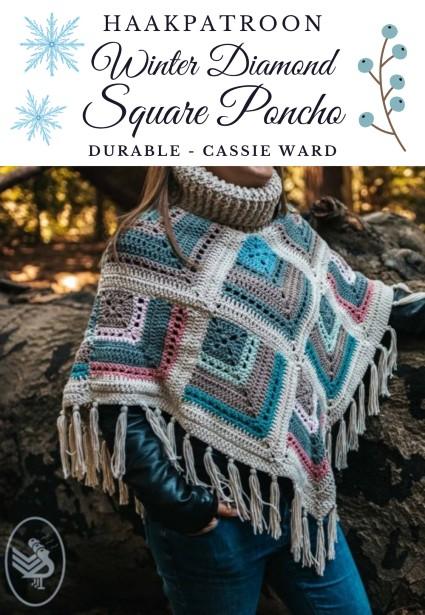 Haakpatroon Winter Diamond Square Poncho