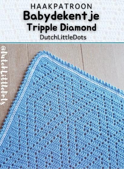 Haakpatroon Babydekentje Tripple Diamond
